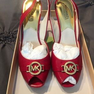 Michael Kors Rochelle Patent Leather summer wedges
